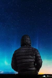 Alone Boy In Hoodie Looking Towards Colorful Sky