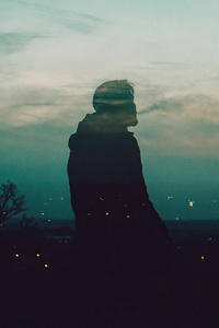 1242x2688 Alone Boy Sitting Silhouette Manipulation 4k