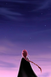 1242x2688 Alone Girl Looking At The Sky 5k