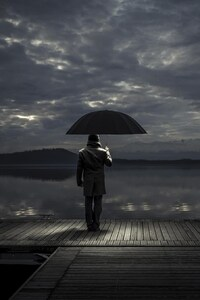 1440x2960 Alone man With Umbrella