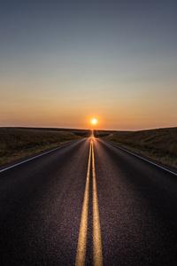 2160x3840 Alone Road Sun 5k