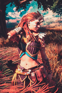 Aloy Horizon Zero Dawn 4k Beautiful Flower