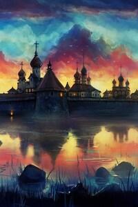Amazing Painting Monastery Sky