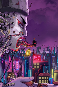 1080x2280 Amegakure From Naruto Shippuden In A Cyberpunk World 5k
