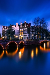 320x480 Amsterdam Bridge Street Light Long Exposure 4k