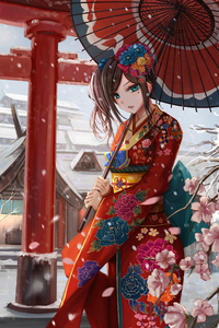 1242x2688 Ancient Asian Girl With Umbrella 4k