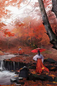 1440x2960 Ancient Asian Girls Morning Walk In Autumn 4k