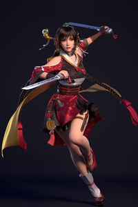 320x480 Ancient Asian Warrior Girl With Two Swords