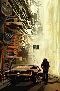 1125x2436 Ancient Cyberpunk Futuristic City Hoodie Boy 4k