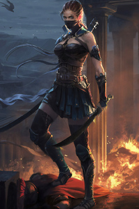 1080x2160 Ancient Warrior Girl