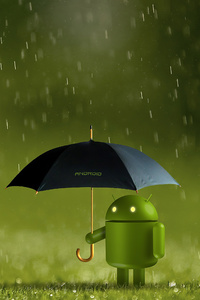 480x854 Android Doodle With Umbrella 4k