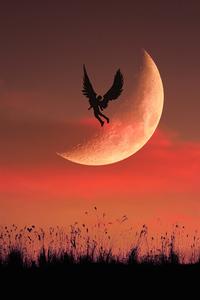 Angel Boy Flying To Moon 5k