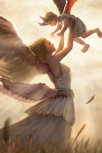 Angel Mom With Kid