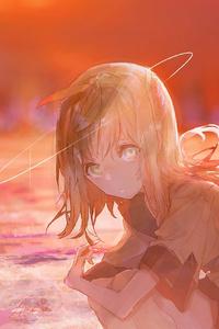 640x1136 Anime Angel Girl Sitting 4k