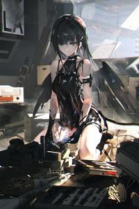 1080x2160 Anime Angel Scifi Fixing Broken Items 5k
