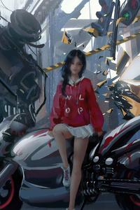 480x854 Anime Biker Girl 4k