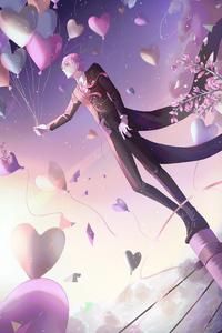 640x960 Anime Boy Balloons 4k