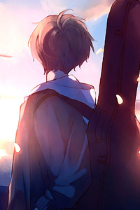 750x1334 Anime Boy Guitar Painting