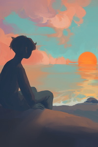 1080x1920 Anime Boy Sitting Watching Sunset