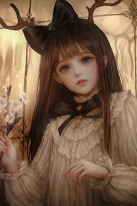Anime Brunette Flowers Long Hair 4k