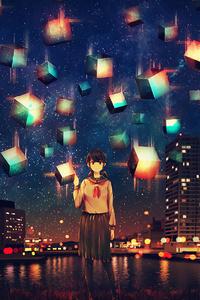 750x1334 Anime Buildings Stars 4k