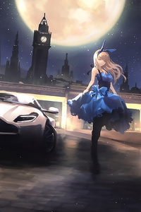 Anime Car And Blonde Girl Gangster