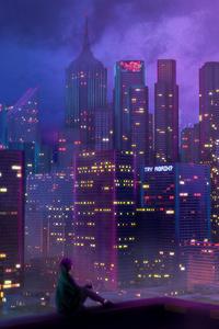 1242x2688 Anime City Girl 4k