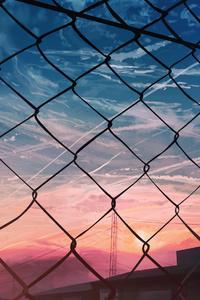 1080x2280 Anime City Moescape Fence 4k