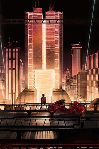 1242x2688 Anime City Scape 4k