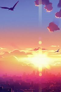 Anime Clouds Birds Flying 4k