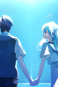 240x320 Anime Couple Holding Hands Hatsune Miku