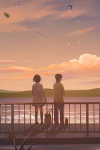 1280x2120 Anime Couple Lets Talk 4k