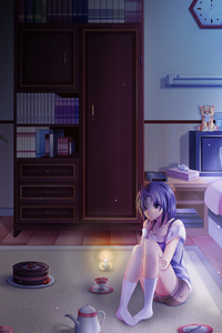 240x400 Anime Girl Alone In Room On Her Birthday