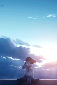 1080x2160 Anime Girl Alone Sitting