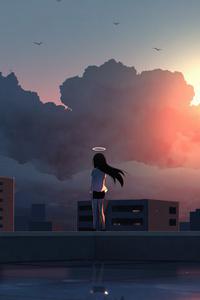 Anime Girl Angel Ring 5k