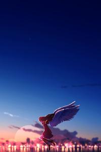 1080x1920 Anime Girl Angel Sky 4k