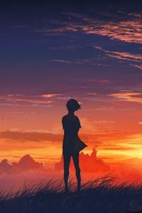 Anime Girl Artistic Sunset
