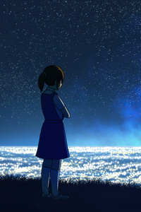 1080x2160 Anime Girl At Hilltop Seeing Cityscape 8k