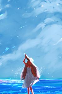1080x1920 Anime Girl Beach Happy Long Hair Clouds 4k