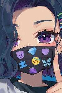 240x320 Anime Girl Big Eyes Tattoo Mask 4k