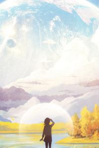 Anime Girl Big Moon Planet 4k