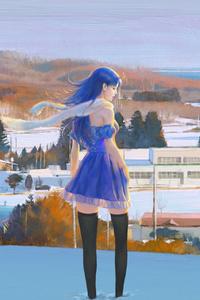 Anime Girl Blue Dress In Snow 4k
