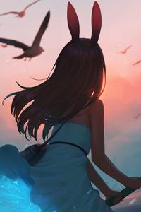 Anime Girl Bunny Hairs 5k