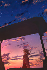 1080x2280 Anime Girl Bus Stop Power Lines 5k