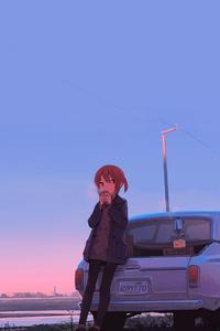Anime Girl Car Drinking Coffee