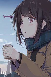 640x960 Anime Girl Cold Days