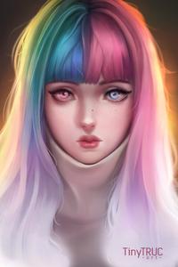 1242x2688 Anime Girl Colorful Hairs 4k