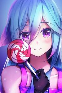 Anime Girl Cute Rainbows And Lolipop