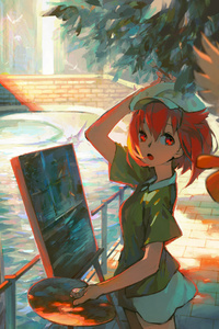 Anime Girl Doing Paiting Artwork