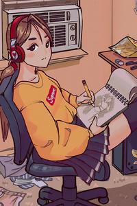 1280x2120 Anime Girl Drawing Sketch 4k